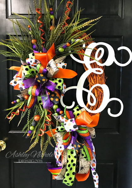 Halloween Initial Orange Wreath