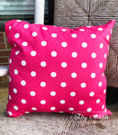 "18"" Outdoor Pillow-Candy Pink with White dots"