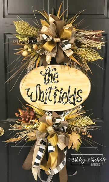 Chocolate Neutral Plaque Fall Wreath