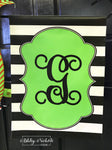 Black and White Stripe Initial Vinyl Garden Flag - GREEN