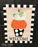 Topiary White Pumpkin- Welcome - Garden Vinyl Flag