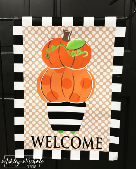 Topiary Orange Pumpkins - Garden Vinyl Flag