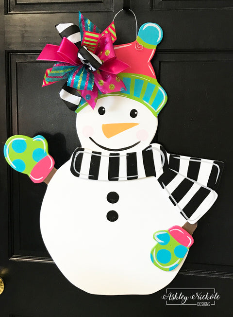 Snowman - Colorful - Door Hanger