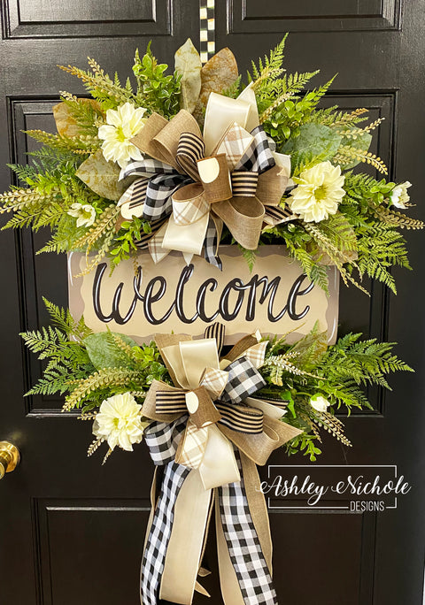 Welcome Wreath - Farmhouse Neutral Style