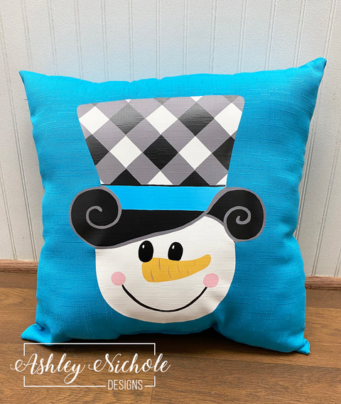 "18"" Custom - Snowman Buffalo Check Hat - Turquoise Pillow"