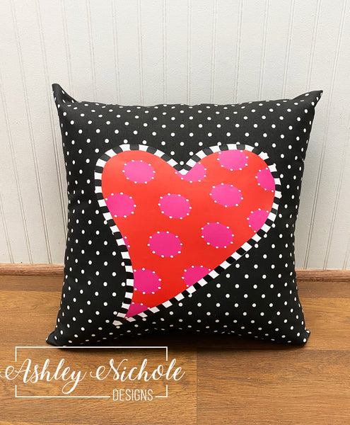 "18"" Custom-Funky Heart with Black/White Mini Dot"
