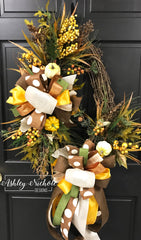 "24"" Oval Pumpkin(White)-Berry-Maple-Pine-Cedar Fall Wreath"