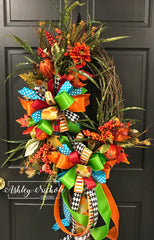 Pumpkin Mix Fall Oval Wreath with Turquoise