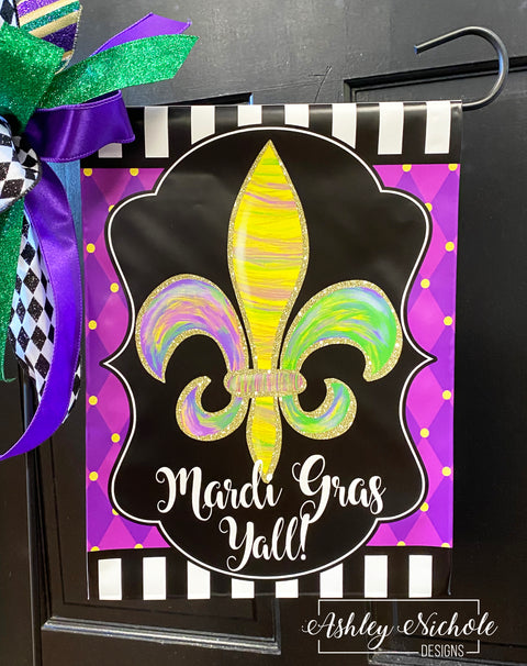 Fleur De Lis - ABSTRACT - Mardi Gras Garden Vinyl Flag