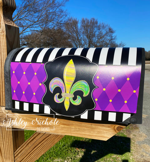 Fleur De Lis - ABSTRACT - Mardi Gras Magnetic Mailbox Cover
