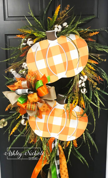 Buffalo Check ORANGE Double Pumpkin Swag Wreath