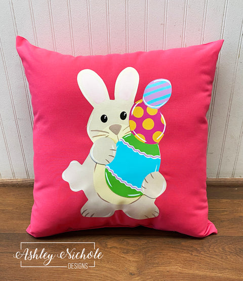 "18"" Custom-Bunny with Egg Stack Pillow"