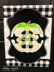 Buffalo Check and Dot Pumpkin Initial Garden Vinyl Flag-Multiple Colors