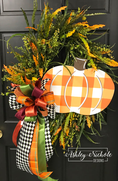 Buffalo Check Pumpkin and Mixed Grasses Oval Wreath