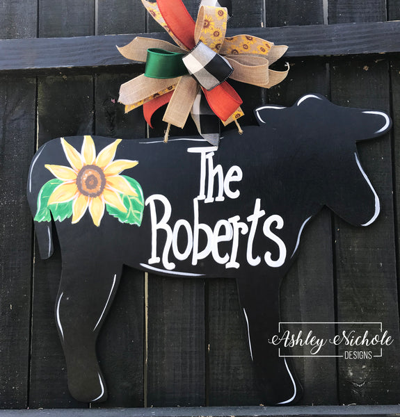 Cow - Floral - Door Hanger
