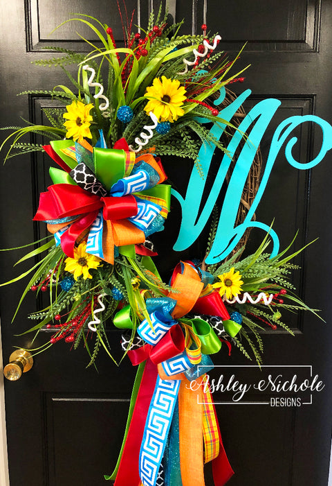 Back to School Initial Wreath