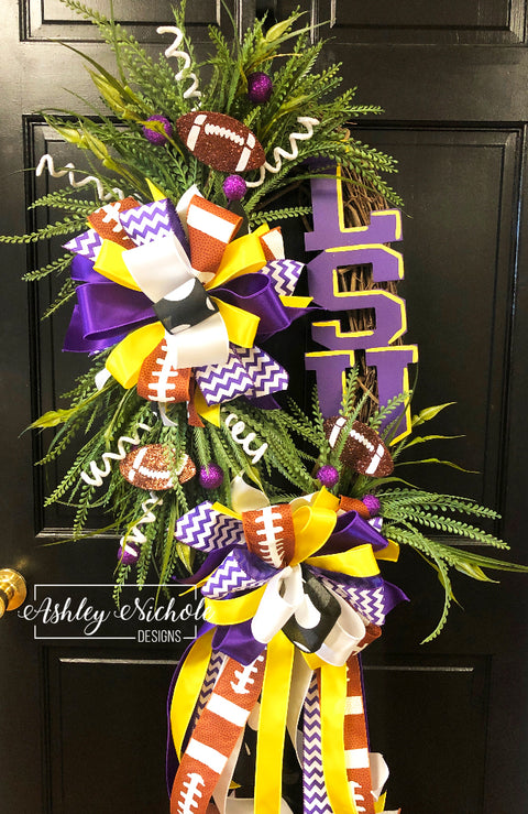 School Spirit Football Wreath - Collegiate Font