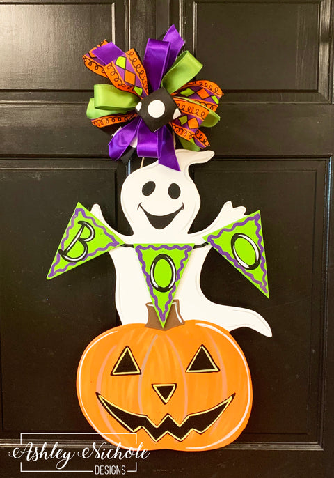 Ghost-Boo and Happy Pumpkin Door Hanger