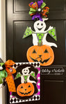 Ghost-Boo and Happy Pumpkin Vinyl Garden Flag