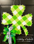 Four Leaf Clover-Buffalo Check St. Patrick's Day-Door Hanger