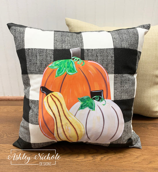 "18"" Custom - Pumpkins and Gourd Pillow - Buffalo Check"