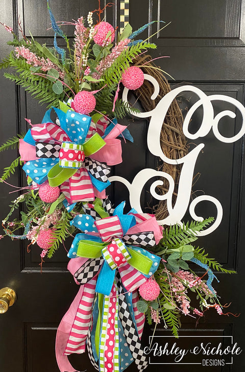 Spring & Summer Fun Initial Wreath - Pink & Turq.