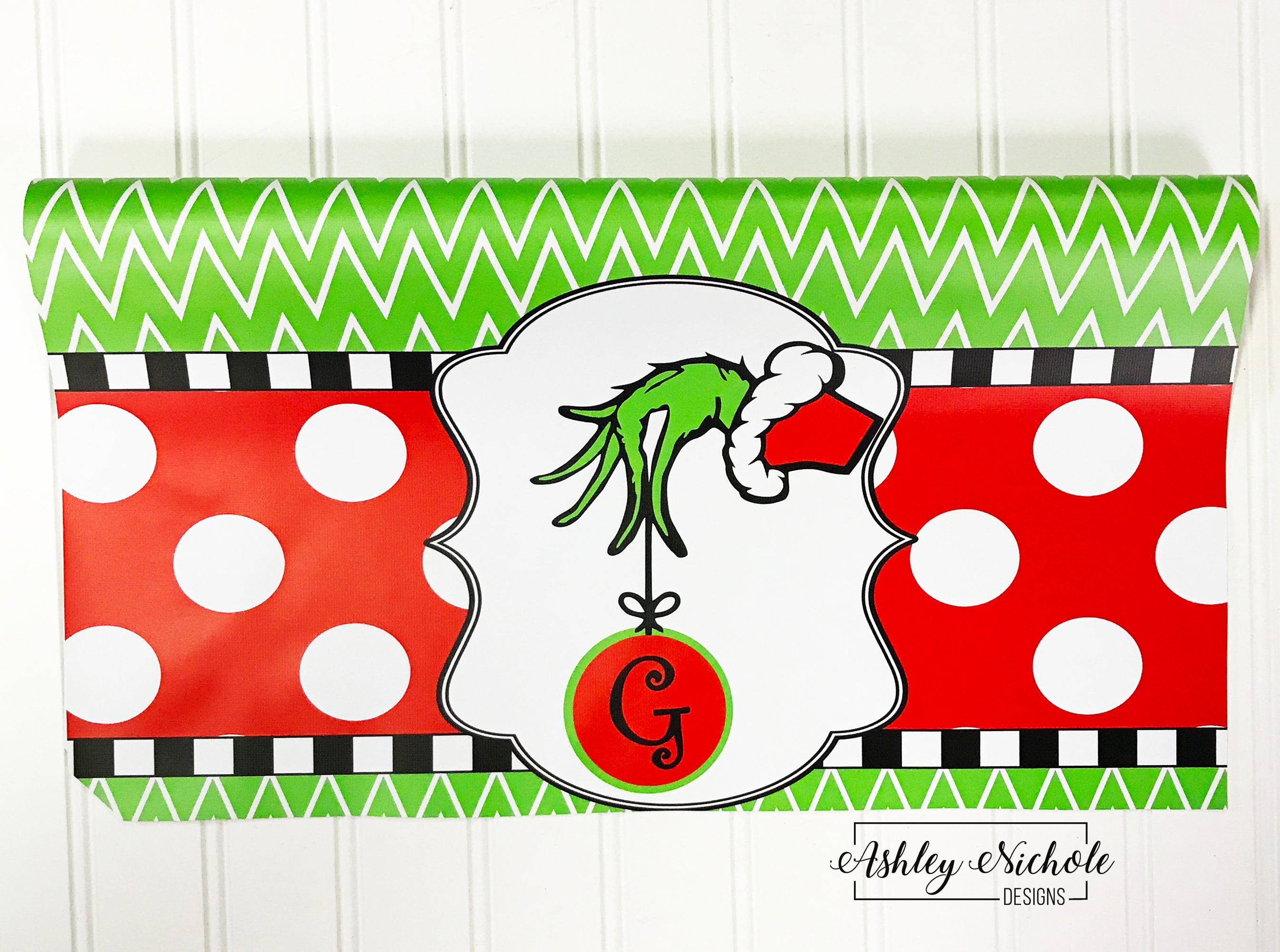 Christmas Mailbox Covers.Grinch Inspired Initial Christmas Vinyl Mailbox Cover