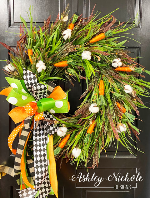 **Carrot and Cotton Neutral Wreath