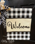 Buffalo Check and Beige Vinyl Garden Flag - Welcome