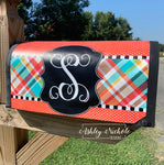 Fall Plaid - Colorful Initial Vinyl Mailbox Cover