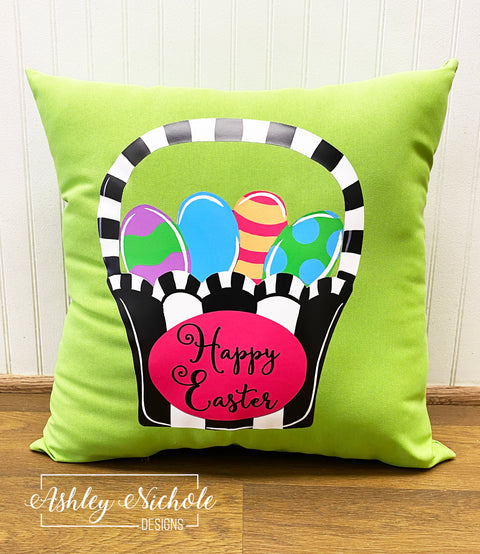 "18"" Happy Easter Basket and Eggs - Vinyl Design on Outdoor Fabric"