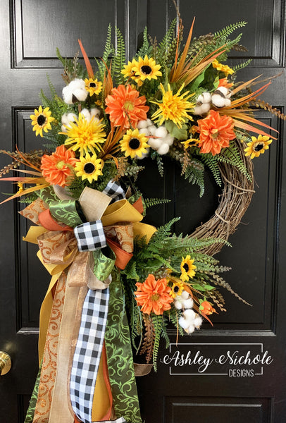 Fall Mini Sunflower and Dahlia Floral Wreath