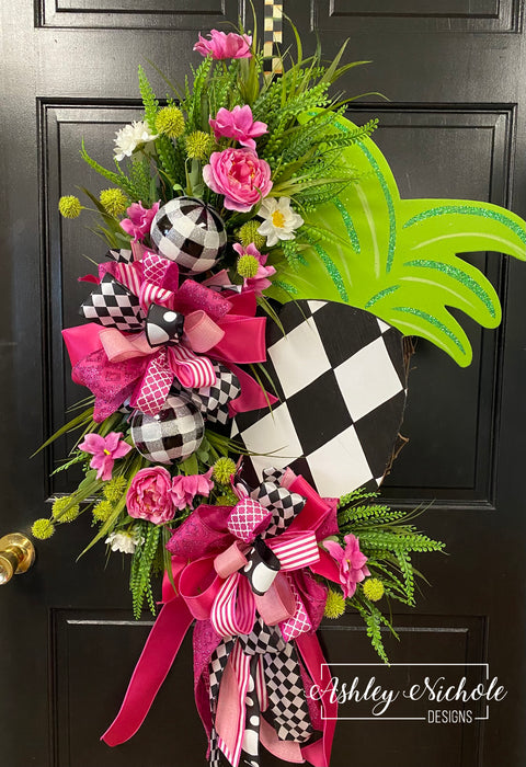 Pineapple Floral Wreath - Abstract Diamond - Pink & Green