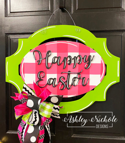 Buffalo Check - Pink & Green Oblong Plaque - Happy Easter - Door Hanger