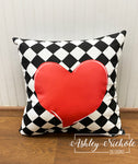 "18"" Custom-Diamond-Black and White-Red Heart Pillow"