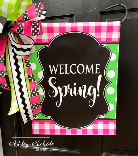 Buffalo Check Pink and Green Vinyl Garden Flag - Welcome Spring