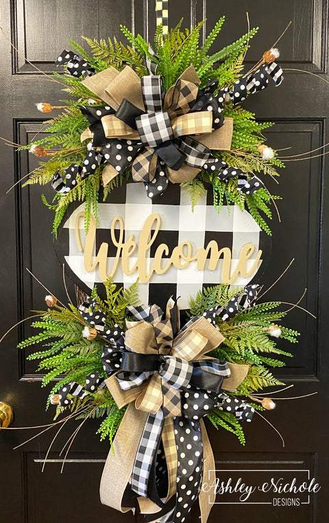 Buffalo Check Welcome Plaque Everyday Wreath - Black & White