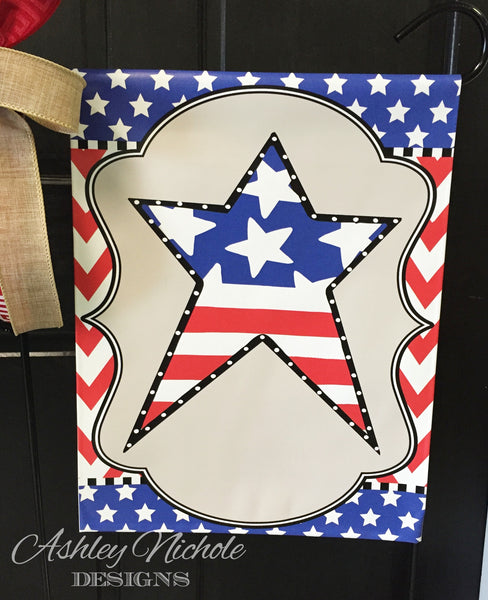 Patriotic Star Garden Vinyl Flag