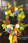 Spring Bouquet Oval Floral Wreath - BLUE & YELLOW