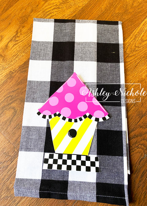Birdhouse - Colorful - Checkered Dish Towels