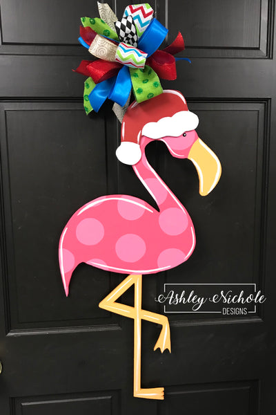 Christmas Flamingo Door Hanger