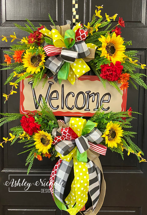 Welcome Wreath - Reds and Yellows