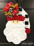 Santa Claus - Buffalo Check (Black) and Red Glitter - Door Hanger