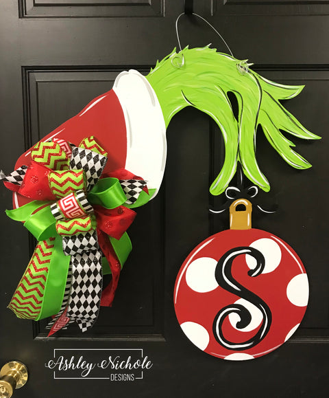 Grinch Inspired Hand and Ornament - Door Hanger