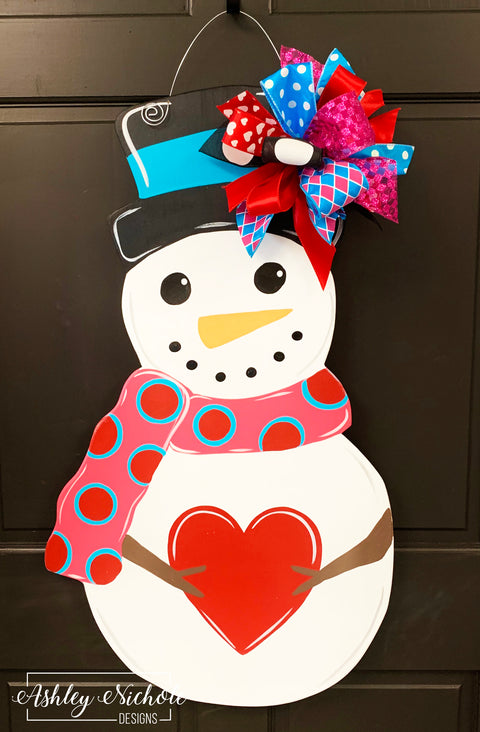 Snowman and Heart Door Hanger