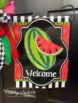 Whole Watermelon Welcome Vinyl Garden Flag