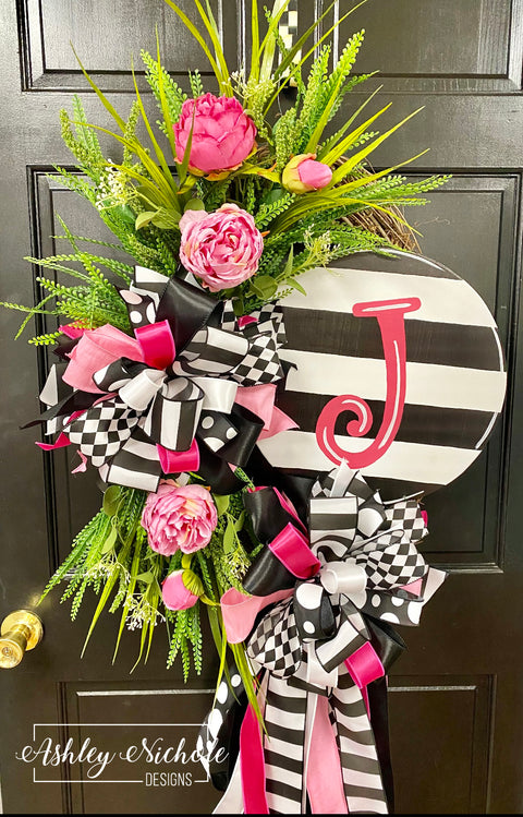Black, White & Pinks Initial Striped Plaque Wreath
