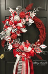 Red, White & Silver Whimsical Round Wreath