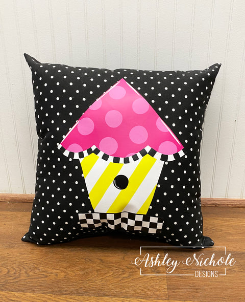 "18"" Birdhouse - Colorful - Checkered - Vinyl Design on Outdoor Fabric"