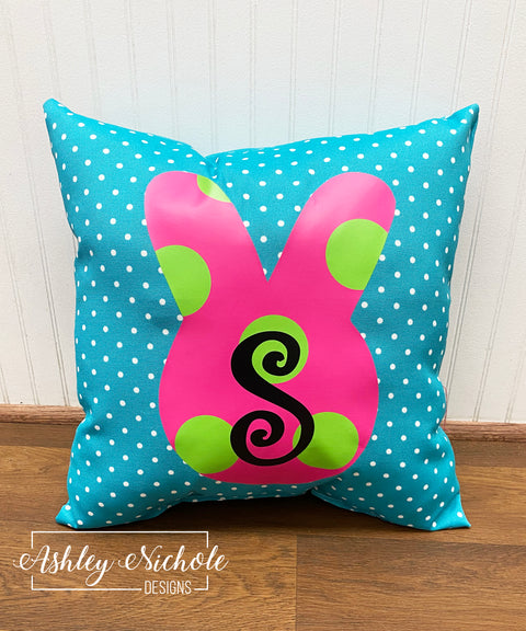 "18"" Custom-Polka Dot Bunny Face Pillow"